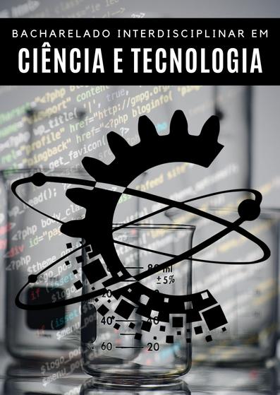 Imagem de boas vindas da página inicial do site. Contém imagens sobrepostas fazendo referência à ciência (laboratório) e tecnologia (programação)